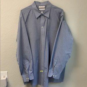 Big & Tall Dress Shirt - Blue Checker Pattern